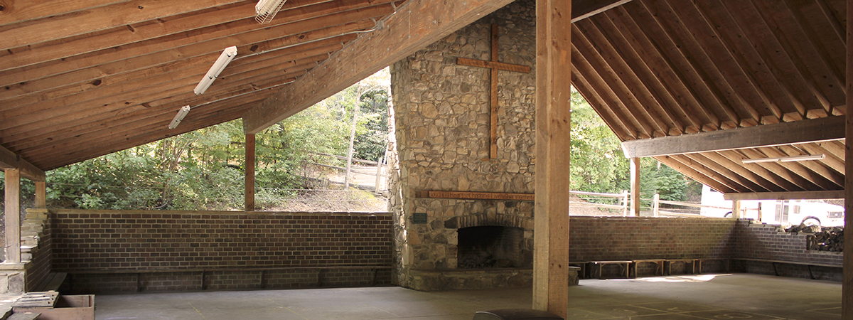 Pavilion and fireplace Western NC Retreats!